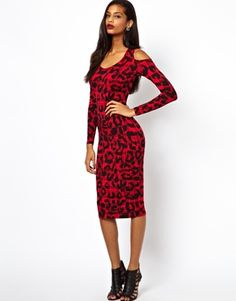 ASOS Bodycon Dress With Cold Shoulder In Check Animal Print