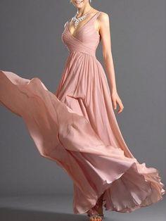 Vintage Surplice Chiffon Plain Maxi-dress