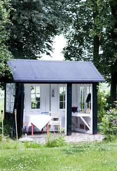 make the summer a small shed your favorite, covered terrace. Paint the outside with black paint outside and white inside