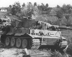 Several Tiger 1 tanks appear to have been abandoned on a open country road