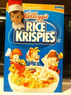 Elf on Shelf | Elf Mischief Rice Krispies Box with elf head sticking out