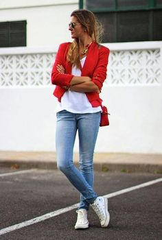 Discover this look wearing Mango Jackets, Zara Shirts, Converse Sneakers - Red Jacket by marianelahd styled for Casual, Everyday in the Fall Red Sneakers Outfit, Blazer Outfits Casual, Spring Work Outfits, Fall Outfits, Fashion Outfits, Look Jean, Look Blazer, Tennis Clothes, Marilyn's Closet