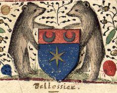 Armes de Oudard Bellossier [d'azur à une étoile d'or, au chef [cousu] de gueules chargé de deux croissants d'or] (f°1). --  «Trésor des simples», par Germain, Jean, évêque de Chalon [Médiathèque de Moulins, Ms. 7]. -- Copie exécutée par Oudard Bellossier, pour son propre compte, vers 1485, comme l'indiquent les costumes. Oudard Bellossier fut  conseiller-auditeur à la chambre des comptes de Moulins, de 1483 à 1521, date où il mourut très probablement.