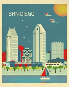 San Diego, California is available in an array of finishes, materials, and sizes, this retro inspired wall art will make San Diego feel close to your heart with its bright color palette and unique des