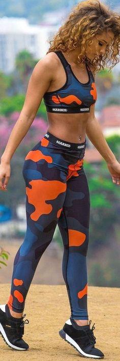 Set Leggings Fitness Top Model Blu Splash NEU Onesize Sport BH