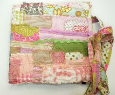 Hand Sewn art journal - fabric patch  in pinks