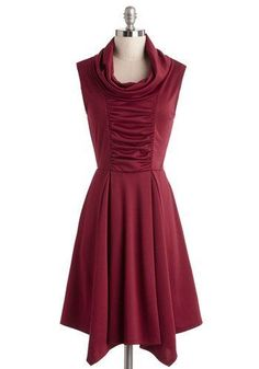 Storytelling Showstopper Dress in Burgundy. Standing center stage, you share an adventurous anecdote while wearing the cute cowl neck and pleated skirt accents of this ModCloth-exclusive dress! #gold #prom #modcloth: