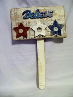 "Rustic Handcrafted ""Believe"" Plaque Reclaimed Wood Wood Cutouts Stain Garden"