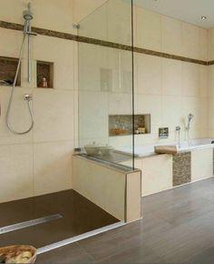 dusche mit regenduschkopf sitzm glichkeit und boden in holzoptik. Black Bedroom Furniture Sets. Home Design Ideas