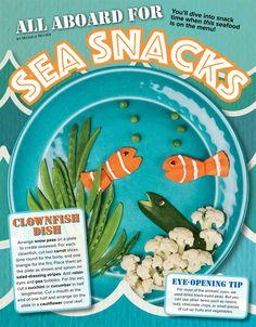 Sea Snacks by Michele Reyzer from the August 2015 issue of Ranger Rick (fruit and vegetable animals including carrot clownfish, octopus pepper, pineapple turtle, and crab apple) Ocean Snacks, Beach Snacks, Owl Snacks, Animal Snacks, Ranger Rick Magazine, Vegetable Animals, Healthy Snacks For Kids, Fun Activities, Crafts For Kids