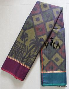 PochamPally Silk cotton saree comes with striped pallu and running blouse.