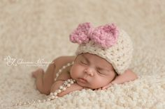 Newborn Bow Hat Cream Pink Photography Prop | Beautiful Photo Props