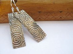 """Spiral-patterned Sterling Silver Dangle Earrings 1 3/4"""" / Csigamintás ezüst fülbevaló 45 mm."""