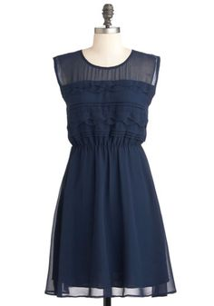 Vogue Wave Dress. A tide of true fashion is about to overcome the sidewalks of your city, for you're ready to flaunt the tiered waves and pintucks on the top of this navy-blue dress! #gold #prom #modcloth