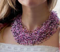 Floating illusion Spring colors Gift for Her necklace airy seed beads necklace…