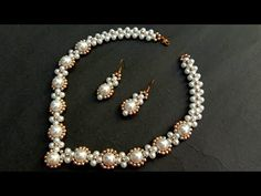 How To Make Pearl Necklace//Bridal Necklace// Useful & Easy - new season bijouterie Pearl Necklace Designs, Beaded Necklace Patterns, Beaded Earrings, Beaded Bracelets, Amber Earrings, Necklace Ideas, Flower Earrings, Jewelry Ideas, Bead Jewellery