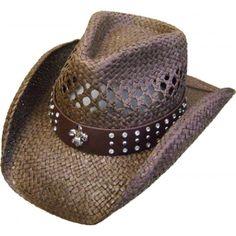5fc69a2b3c209 This Adult Brown Fleur De Lis Rhinestone Straw Cowboy Hat has a rhinestone  stud cowboy hat