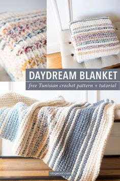 Simple striped Tunisian crochet blanket, evoking cloudy days by the coast. Free Tunisian crochet pattern + tutorial available at www.1dogwoof.com Crochet Afghans, Motifs Afghans, Tunisian Crochet Blanket, Tunisian Crochet Patterns, Crochet Baby, Modern Crochet Blanket, Striped Crochet Blanket, Modern Crochet Patterns, Crochet Mittens