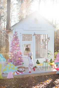 A Playhouse Decorated for Christmas