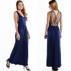 """Safety Net"" Cross Back Maxi Dress Blue strappy back maxi dress. Casual yet so fun! These are actual pics of the item - all photography done by me in a studio. Brand new without tags. True to size Bare Anthology Dresses Maxi"