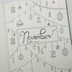 Bullet journal monthly cover page, November cover page, holiday bullet journal theme. @bullet_journalll