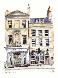 Pharmacy, Bath, England. Building Illustration, House Illustration, House Sketch, House Drawing, Watercolor Architecture, Architecture Art, Pen And Watercolor, Watercolor Landscape, Urban Painting
