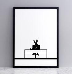 Working Rabbit Screen Print - « HAMMADE