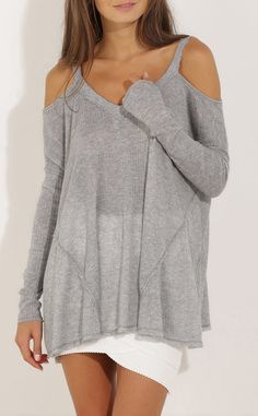 Grey Long Sleeve Off The Shoulder Sweater -SheIn(Sheinside) This off the shoulder sweater is the perfect casual look that looks great with anything!