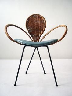 wicker chair with blue seat