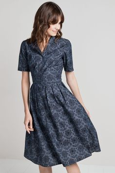 57714e834105 The Crashing Waves Dress is a retro fit and flare shirt dress in soft  cotton chambray