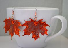 Copper Maple Leaf Earrings - Real Leaves Electroplated in Iridescent Copper. $25.00, via Create Your Bliss on Etsy.