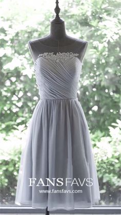 A Line Illusion Neckline Short Silver Chiffon Ruched Party Bridesmaid Dress Cheap Formal Dresses, Prom Dresses For Teens, Prom Dresses Online, Prom Party Dresses, Modest Homecoming Dresses, School Dresses, Dress Prom, Belle Epoque, Grey Bridesmaid Dresses Short