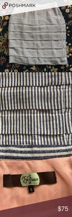 "Anthropologie Skirt Eva Franco. Tiered stripes. Rich and soft. In excellent condition with side zip closure and fully lined. 15.25"" waist and 19.75"" L Anthropologie Skirts Mini"
