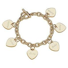 Engraved Hearts Name Charm Bracelet.  Names of my children, my husband and I.