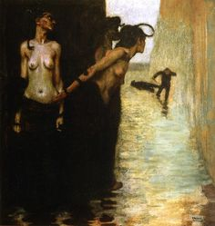 The Murderer      Franz von Stuck     1891      this is my second or third favorite von stuck painting. guide: this is a depiction of the Erinyes (Furies) waiting down a dark, flooded alleyway to ambush a man who has just finished stabbing another man to death. they are going to haunt his whole shit
