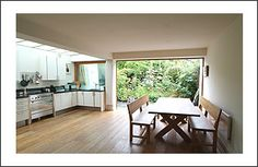 Open kitchen without Island Basement Kitchen, Kitchen Benches, Kitchen Living, New Kitchen, Kitchen Ideas, Living Room, Kitchen Without Island, Cottage Extension, Side Return Extension