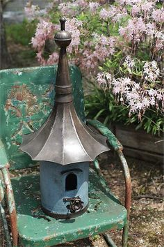Blue Metal Birdhouse