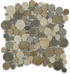 Kinetic Amber Circles Marble Tiles $26.95