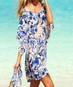 New Womens Floral Short Swimsuit Coverup Casual Blue White Dress #AnikiBoutique #Sundress #Casual