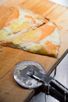 Pizza au Saumon fumé et fromage ail & fines herbes