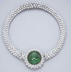 Cartier Emerald cabochon and diamond necklace