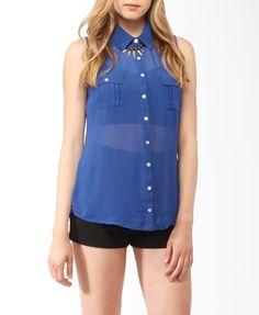Sleeveless Pintuck Pleated Shirt | FOREVER21 - 2000043761