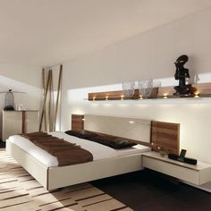 Double bed / contemporary / walnut / lacquered wood CUTARO  hülsta