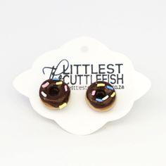Doughnut Earrings (Pierced) - The Littlest Cuttlefish | shop.kamersvol.com Maker Shop, Cuttlefish, Mini Foods, Online Marketplace, New Hobbies, Miniature Food, Jewellery Box, Doughnuts, Yummy Treats