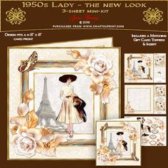 1950s Lady - The New Look by June Young A three-sheet mini-kit for an 8 x 8 card front, featuring a very fashionable lady in the 1950s 'New Look' fashion, in a multi-layered effect frame embellished with corner floral sprays and toning butterflies. The first sheet has the card front and matching gift card, sheet 2 has decoupage, and five greetings panels, two are blank for your own use. Sheet three has a matching insert for your card and two small toppers which can be used inside the front…