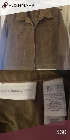 🍂NWOT LIZ CLAIBORNE PLUSH CORDUROY BUTTON JACKET Very soft button down tan corduroy jacket.  Liz Claiborne.  Never worn. Very nice jacket.  Sits just above waist.  XL.  Fits sizes 10-14 very nicely.  Great for fall or spring. Great as a work jacket or a night out ⭐️⭐️⭐️ Liz Claiborne Jackets & Coats Jean Jackets