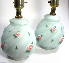 Pair Bedroom Lamps 1940s Sagey Green Glass Hand Painted Roses. $32.00, via Etsy.  Elizabeth's Room