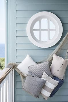 Florence & Beatrice cushions, in a range of fabrics. Coastal Homes, Coastal Living, Coastal Cottage, Nautical Home, Nautical Stripes, Cottages By The Sea, Coastal Furniture, Indoor Outdoor Living, Outdoor Cushions