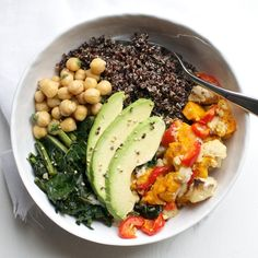 Black Quinoa + Roasted Vegetable Bowl by pixelsandcrumbs: With sautéed kale, cilantro chick peas and avocado. #Salad #Quinoa #Avocado #Kale #Veggie #Healthy