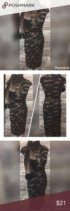 """6 PIECE SET! NEW CAMO DRESS/BELT/ SCARF/JEWELRY LG THIS GORGEOUS 6 PIECE SET CAMO OUTFIT IS READY TO JUST PUT ON AND LOOK AMAZING!!IT  IS PERFECT FOR THE SPRING SEASON AND WOULD LOOK GORGEOUS ON ANYONE!!   CAMO CINCHED WAIST DRESS SIZE LARGE *MEASUREMENTS ACROSS LENGTH-44"""" BUST-19""""-24"""" WAIST-17""""-22"""" HIPS-20""""-26""""  ACCESSORIES (5) GREEN OMBRÉ WOOL FRING SCARF-12""""WIDE/6'LONG ROPE BROWN&GOLD ELASTIC BELT-2 1/2""""WIDE/30""""-41""""LONG GOLD&GREEN PENDANT NECKLACE-22""""HANGING ADJ. FLAT MODERN SHAPE GOLD…"""